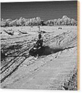 two men on snowmobiles crossing frozen fields in rural Forget Saskatchewan Canada Wood Print by Joe Fox