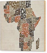 Typography Text Map Of Africa Wood Print by Michael Tompsett