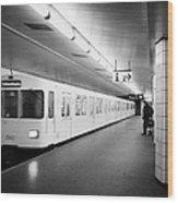u-bahn train pulling in to ubahn station Berlin Germany Wood Print by Joe Fox