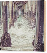 Under The Pier Vintage California Picture Wood Print by Paul Velgos