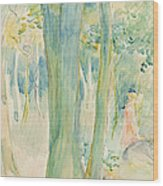 Under The Trees In The Wood Wood Print by Berthe Morisot