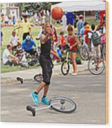 Unicyclist - Basketball - Street Rules  Wood Print by Mike Savad