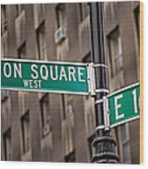 Union Square West I Wood Print by Susan Candelario