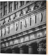 Union Station Chicago Sign In Black And White Wood Print by Paul Velgos