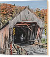 Union Village Covered Bridge Thetford Vermont Wood Print by Edward Fielding