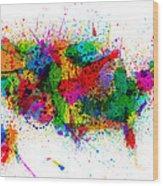 United States Paint Splashes Map Wood Print by Michael Tompsett