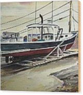 Up For Repairs In Perkins Cove Wood Print by Scott Nelson