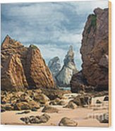 Ursa Beach Rocks Wood Print by Carlos Caetano