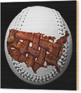 Us Bacon Weave Map Baseball Square Wood Print by Andee Design