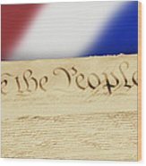 Us Constitution Wood Print by Linda Phelps