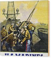 Us Marines Wood Print by Leon Alaric Shafer