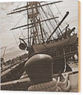 Uss Constitution Wood Print by Catherine Reusch  Daley