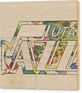 Utah Jazz Retro Poster Wood Print by Florian Rodarte