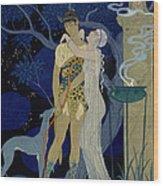 Venus And Adonis  Wood Print by Georges Barbier