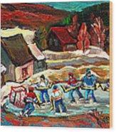 Vermont Pond Hockey Scene Wood Print by Carole Spandau