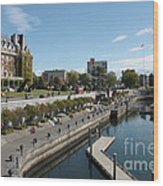 Victoria Harbour With Empress Hotel Wood Print by Carol Groenen