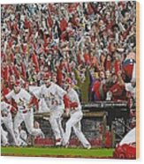 Victory - St Louis Cardinals Win The World Series Title - Friday Oct 28th 2011 Wood Print by Dan Haraga