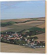 Village In A French Landscape  Wood Print by Aidan Moran