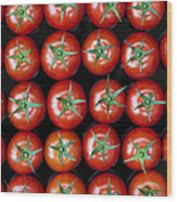 Vine Tomato Pattern Wood Print by Tim Gainey