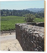 Vineyard And Winery Ruins At Historic Jack London Ranch In Glen Ellen Sonoma California 5d24537 Wood Print by Wingsdomain Art and Photography