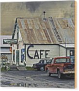 Vintage Alaska Cafe Wood Print by Ron Day