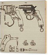 Vintage Colt Revolver Drawing Wood Print by Nenad Cerovic