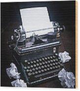 Vintage Manual Typewriter Wood Print by Edward Fielding