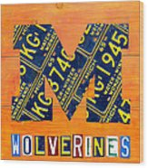 Vintage Michigan License Plate Art Wood Print by Design Turnpike