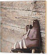 Vintage Pair Of Mens  Ice Skates Wood Print by Mikhail Olykaynen