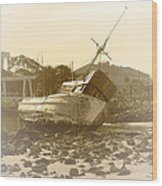 Vintage Shipwreck  Wood Print by Artist and Photographer Laura Wrede