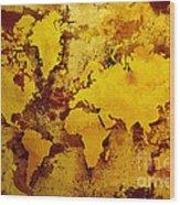 Vintage World Map Wood Print by Zaira Dzhaubaeva