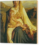 Virgin And Child Wood Print by Paul  Delaroche