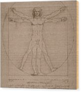Vitruvian Man  Wood Print by War Is Hell Store