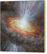 W33a Protostar Accretion Disc, Artwork Wood Print by Science Photo Library