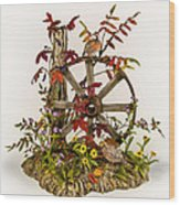 Wagon Wheel And Quail Wood Print by Mary Mcgrath