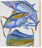 Wahoo Tuna Dolphin Wood Print by Carey Chen