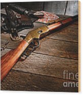 Waiting For The Gunfight Wood Print by Olivier Le Queinec