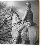 War Horses - 8th Pennsylvania Cavalry Regiment Pleasonton Avenue Sunset Autumn Gettysburg Wood Print by Michael Mazaika