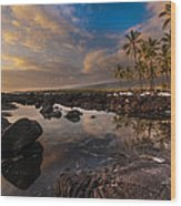Warm Reflected Place Of Refuge Skies Wood Print by Mike Reid