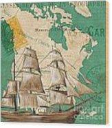 Watercolor Map 2 Wood Print by Debbie DeWitt