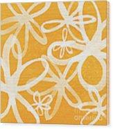 Waterflowers- Orange And White Wood Print by Linda Woods