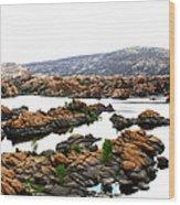 Watson Lake Wood Print by Greg Thiemeyer