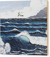 Waves And Tern Wood Print by Barbara Griffin