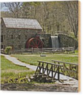 Wayside Grist Mill 8 Wood Print by Dennis Coates
