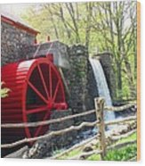 Wayside Inn Grist Mill Wood Print by Barbara McDevitt