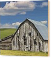 Weathered Barn Palouse Wood Print by Carol Leigh