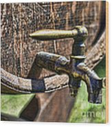 Weathered Tap And Barrel Wood Print by Paul Ward