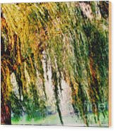 Weeping Willow Tree Painterly Monet Impressionist Dreams Wood Print by Carol F Austin