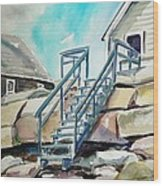 Wells Beach Beach Stairs Wood Print by Scott Nelson