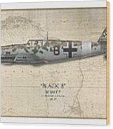 Werner Schroer Messerschmitt Bf-109 - Map Background Wood Print by Craig Tinder